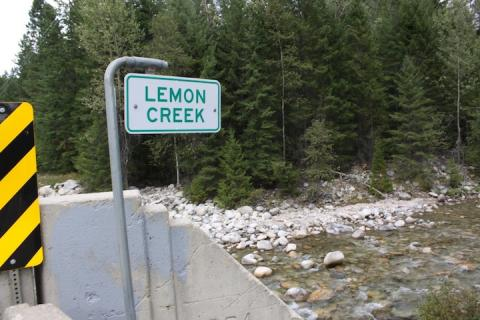 Lemon Creek sign and creek